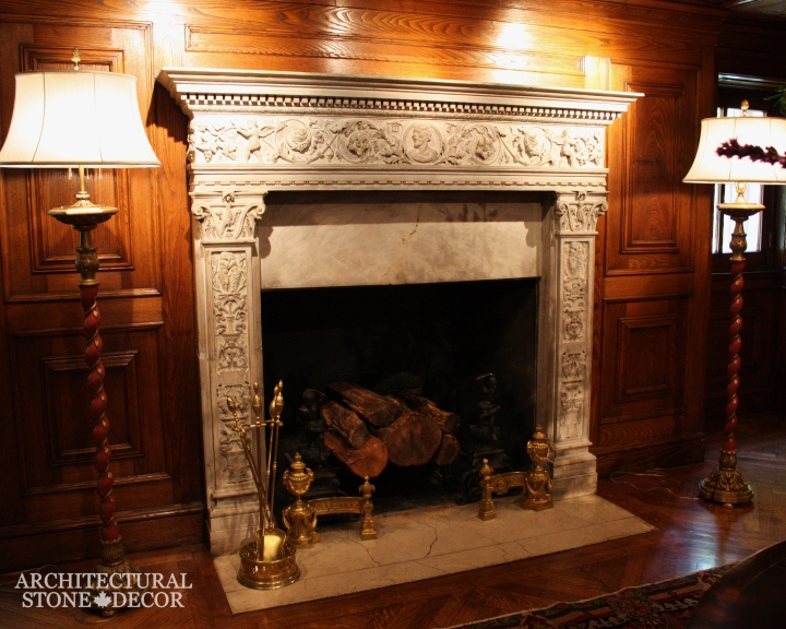 English natural stone limestone fireplace mantel hand carved interior design home decor canada ca uk usa