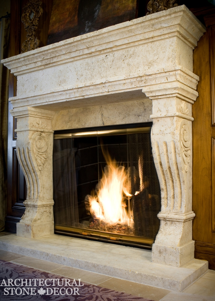 Tuscan natural stone limestone fireplace mantel hand carved interior design home decor canada ca uk usa