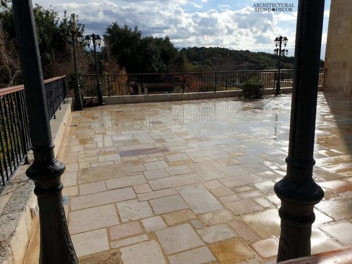 Reclaimed rustic old exterior Barre Gray limestone flooring Mediterranean home Canada CA UK USA